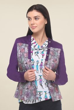 Kaaryah Purple Printed Jacket