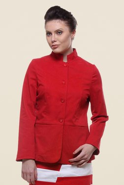 Kaaryah Red Full Sleeves Regular Fit Jacket