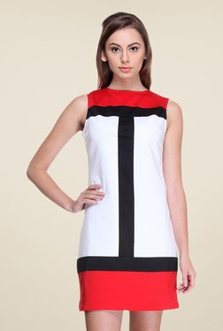Kaaryah White & Red Sleeveless Dress