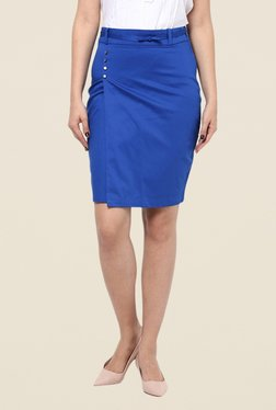 Kaaryah Blue Wrapped Style Pencil Skirt
