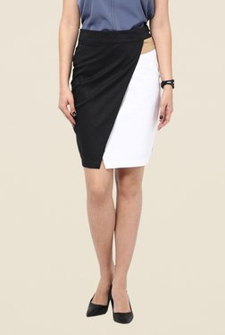 Kaaryah Black & White Paneled Pencil Skirt