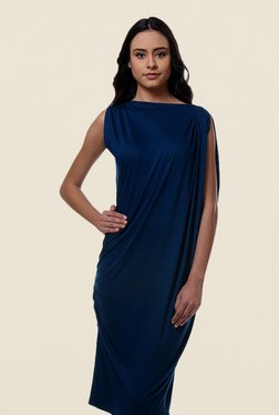 Kaaryah Navy Asymmetrical Sleeveless Dress