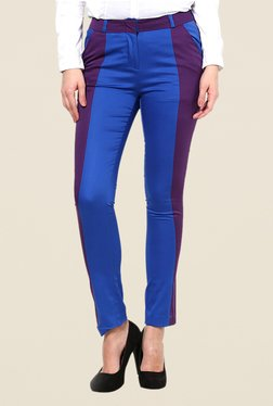 Kaaryah Blue & Purple Solid Trouser