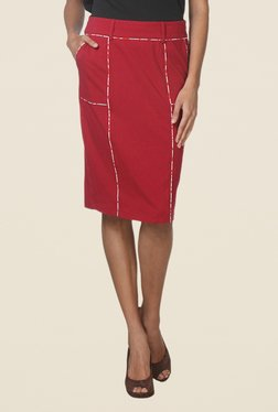 Kaaryah Red Paneled Style Pencil Skirt