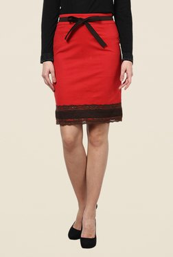 Kaaryah Red Lace Pencil Skirt