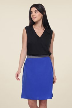 Kaaryah Black & Blue Sleeveless Dress