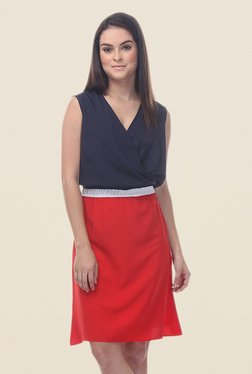 Kaaryah Navy & Red Sleeveless Dress