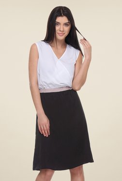 Kaaryah White & Black Sleeveless Dress