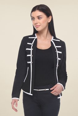 Kaaryah Black Full Sleeves Cotton Silk Jacket