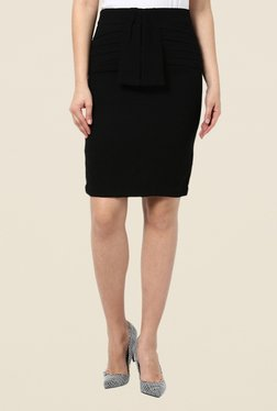 Kaaryah Black Pleated Pencil Skirt