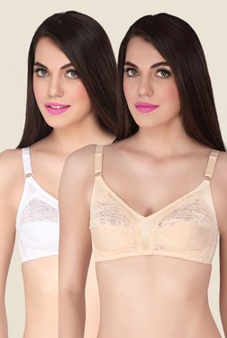 Soie Beige & White Lace Minimizer Bra (Pack Of 2)