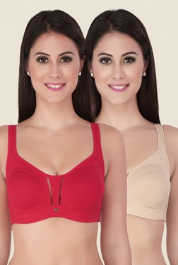 Soie Beige & Red Full Coverage Seamless Bra (Pack Of 2)