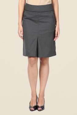 Kaaryah Grey Box Pleated Straight Skirt