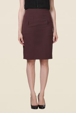 Kaaryah Maroon Pencil Skirt - Mp000000000367216