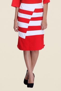 Kaaryah Red & White Striped Pencil Skirt