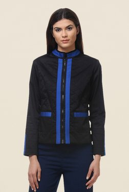 Kaaryah Black Full Sleeves Cotton Silk Regular Fit Jacket