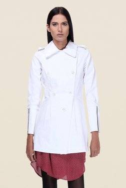 Kaaryah White Full Sleeves Twill Jacket