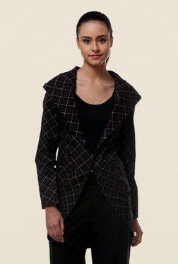 Kaaryah Black Checks Cotton Silk Jacket