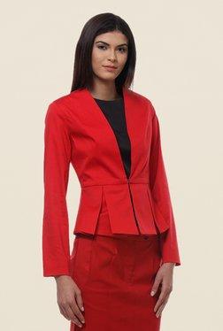Kaaryah Red Full Sleeves Cotton Silk Regular Fit Jacket