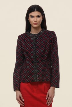 Kaaryah Maroon Checks Jacket