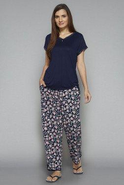 Intima By Westside Navy Floral Print Pyjama