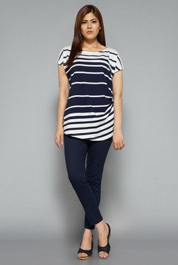Gia by Westside White & Indigo Striped Top