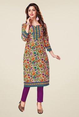 Salwar Studio Multicolor Floral Print Unstitched Kurti