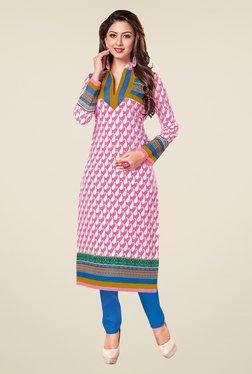 Salwar Studio Pink & Blue Paisley Print Unstitched Kurti
