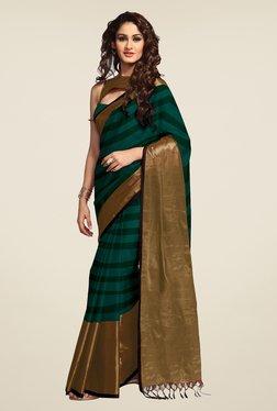 Salwar Studio Green Striped Saree - Mp000000000368926