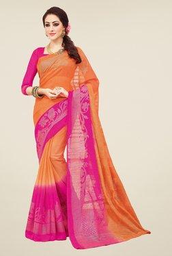 Salwar Studio Orange & Pink Valkalam Bhagalpuri Silk Saree