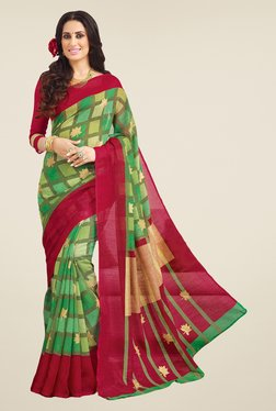 Salwar Studio Green & Maroon Valkalam Bhagalpuri Silk Saree