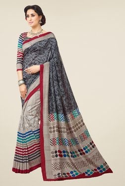 Salwar Studio Grey & Maroon Valkalam Bhagalpuri Silk Saree