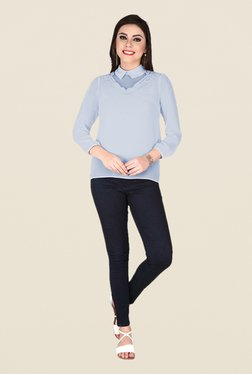 Soie Ice Blue Solid Top - Mp000000000370043