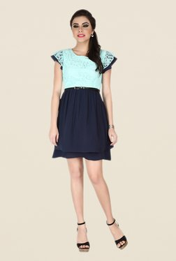 Soie Navy & Turquoise Lace Dress