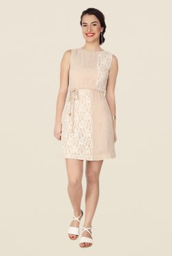 Soie Beige Lace Dress - Mp000000000371034