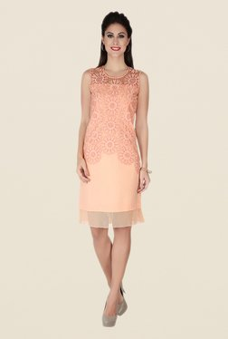 Soie Peach Embroidered Dress