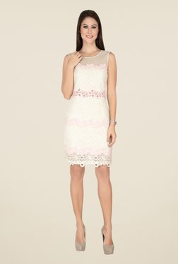 Soie Off White Embroidered Dress