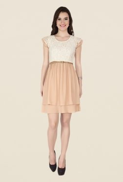 Soie Beige Lace Dress