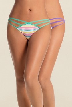 PrettySecrets Green & Purple String Bikini(Pack Of 3)