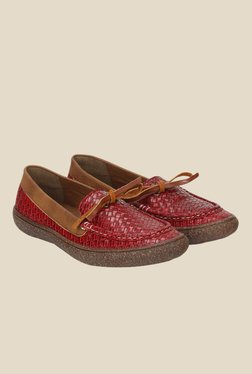 Knotty Derby Katie Red & Tan Moccasins