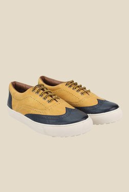 Knotty Derby Alecto Wing Cap Yellow & Navy Plimsolls