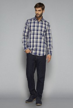 Ascot by Westside Navy & Beige Checks Shirt