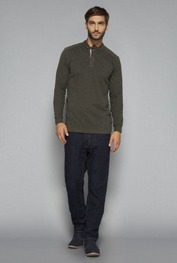 Ascot by Westside Olive Textured T Shirt