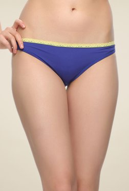 Clovia Royal Blue & Yellow Lacy Bikini Panty
