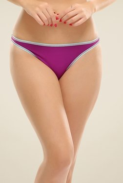 Clovia Purple Bikini Panty With Blue Trims