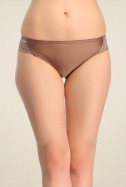 Clovia Brown Lacy Bikini Panty