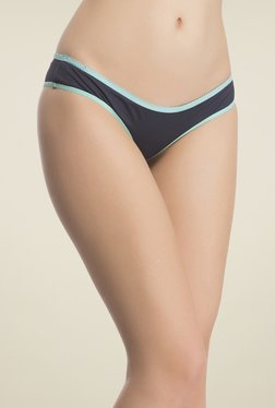 Clovia Navy & Blue Solid Thong Panty