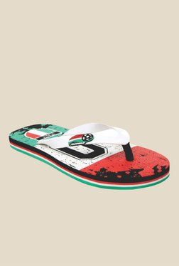 Solethreads Italy White & Red Flip Flops