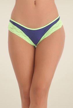 Clovia Blue & Green Lacy Bikini Panty
