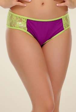 Clovia Purple & Green Lacy Hipster Panty